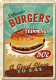 Burger with Trimmings metal postcard / mini-sign  (na)